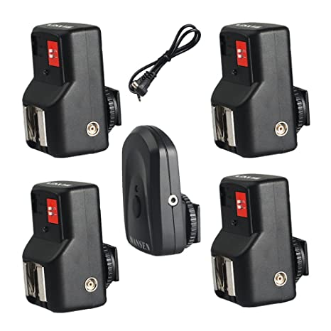 PT-04GY 4 CH Channels Wireless Remote Flash Trigger Transmitter Set w// 1 Receivers for Canon 580EX II Pentax AF-540 FGZ
