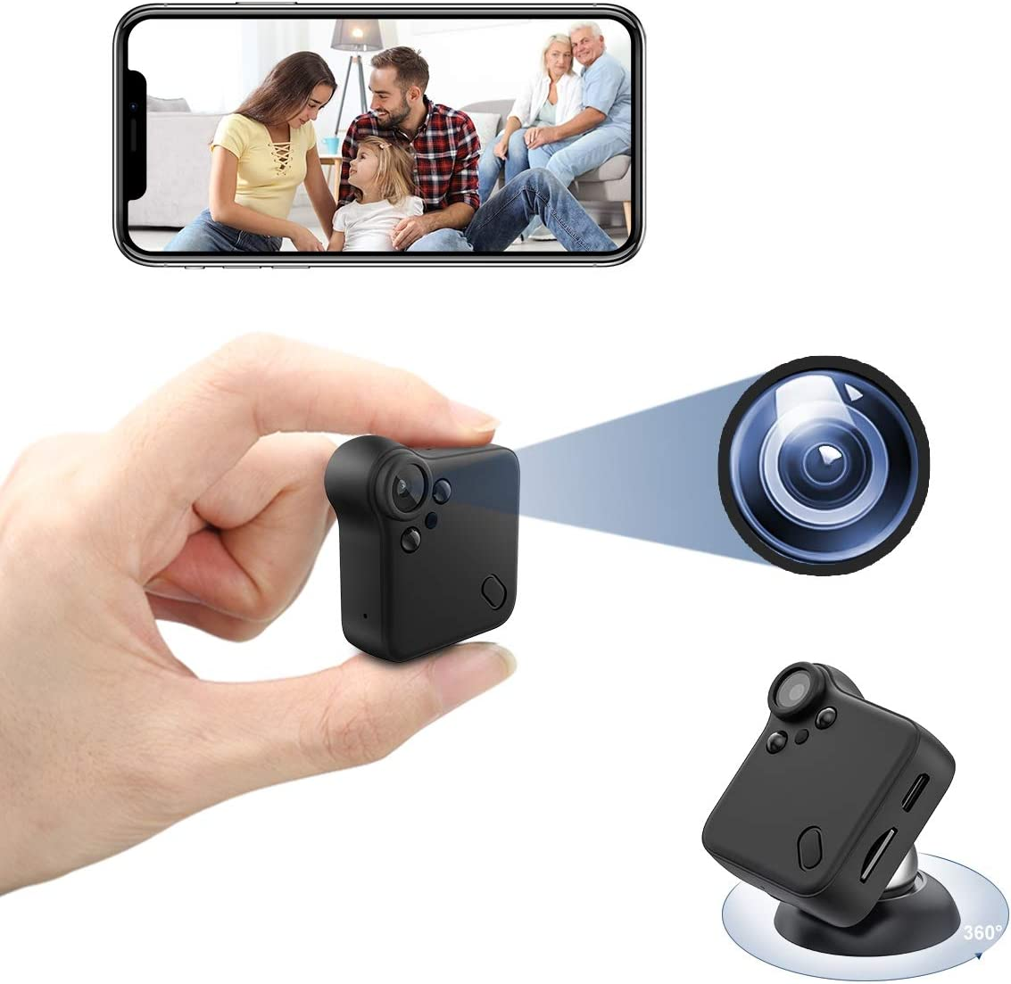 Mini Spy Camera Wireless Nanny Cam with Night Vision & Motion Detection Small Home Security Surveillance Cameras 1080P HD Hidden Camera with Audio & Wide Angle for Car, Home, Office