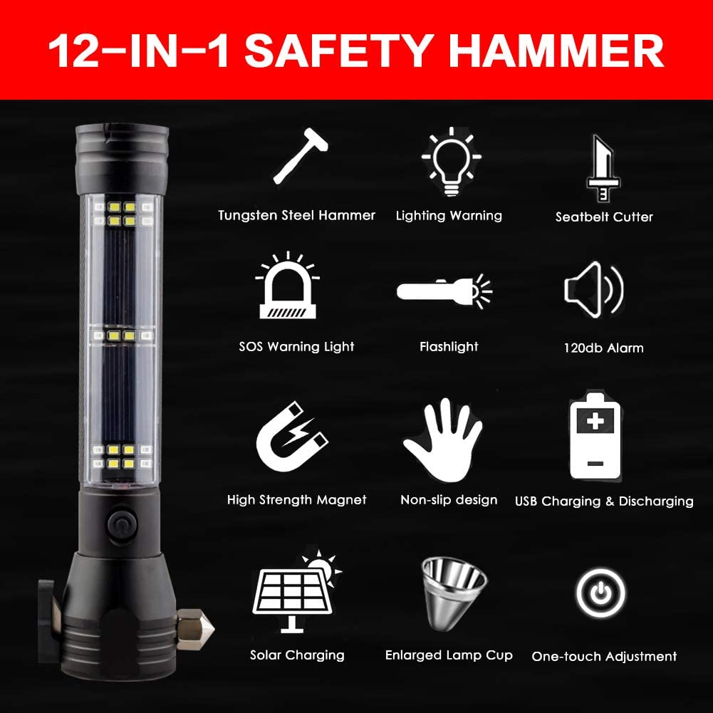 Window Breaker Seat Belt Cutter Car Emergency Escape Tool with Solar USB Charging Magnet SOS Beacons Alarm Mobile Power Black PDDYIER 12-in-1 Multi-Function Flashlight Safety Hammer