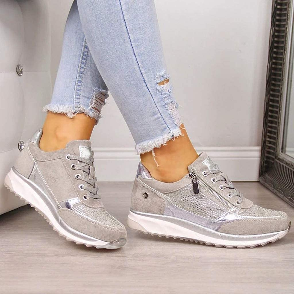 Womens Casual Sneakers,Nevera Fashion Versatile Style Breathable Lace Up Flats Walking Shoes