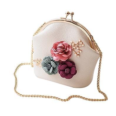 TOOGOO Women Fashion Stereo Flowers Shoulder Bag Ladies Small Vintage Tote Bag  Purse Chain Handbag Messenger 7b492c59f16ba