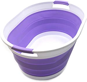 SAMMART Set of 2 Collapsible Plastic Laundry Basket - Foldable Pop Up Storage Container/Organizer - Portable Washing Tub - Space Saving Hamper/Basket (2 Oval, Lt. Purple)