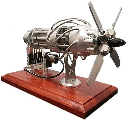 LSHUNYDE Modelo Generador de aire caliente Modelo de juguete de energía solar, modelo de 16 cilindros de energía solar, diseño de hélice de cuatro palas, base de ...