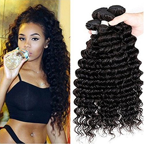 Passion Grade 7A Human Hair Direct 100% Virgin Brazilian Human Hair Extensions Deep Wave 3-Pack Bundle, Natual Black Color 300g Total (100g each) (18 20 22 24) by Passion