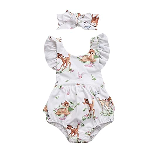 43e980a4231 Lanhui Toddler Baby Girl Clothes Deer Romper Headband 2Pcs Set Outfit  (Beige
