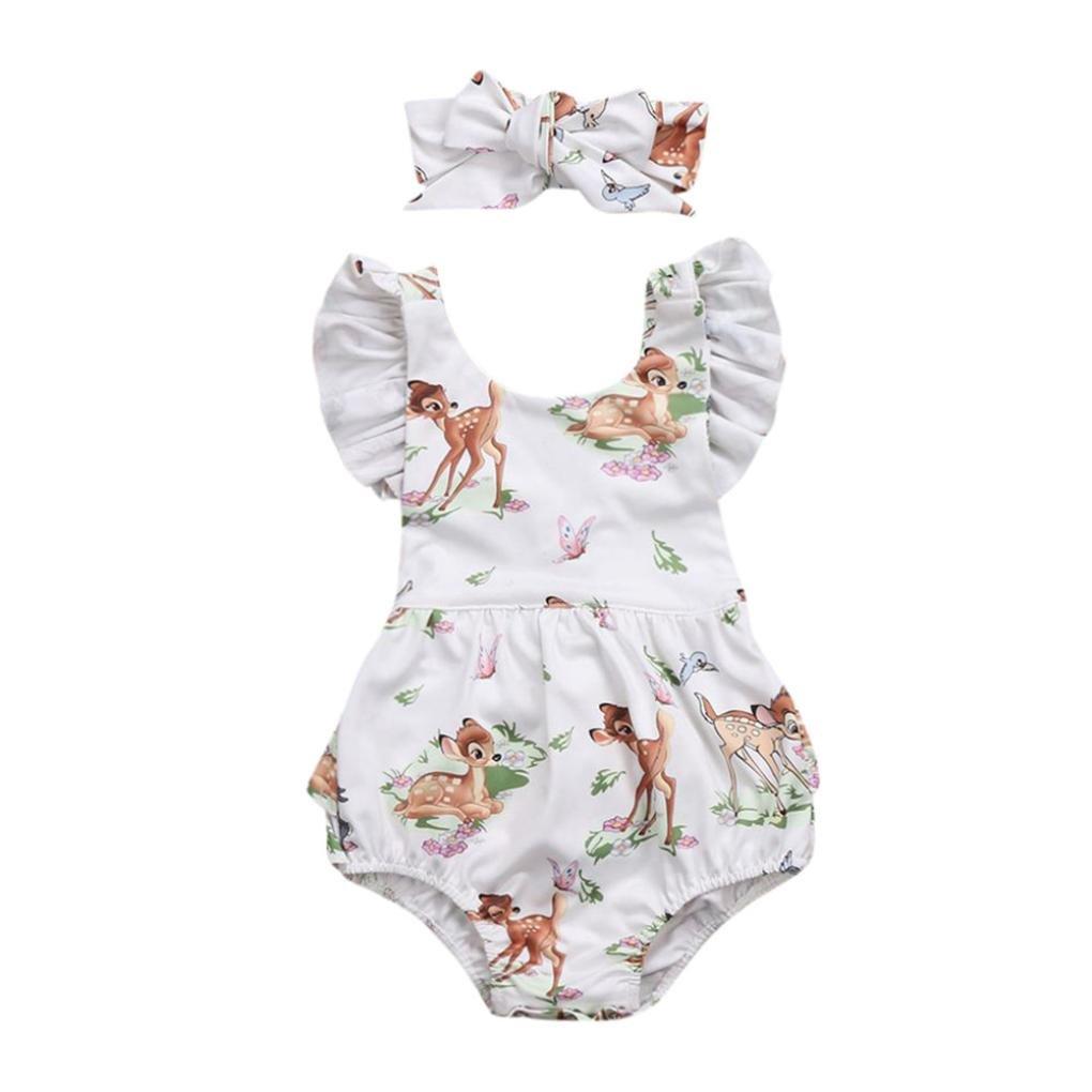 Lanhui Toddler Baby Girl Clothes Deer Romper Headband 2Pcs Set Outfit (Beige, 12Months)