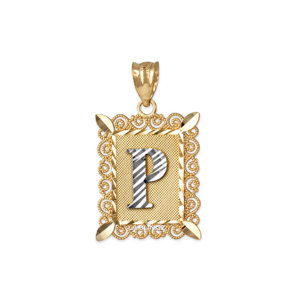 LA BLINGZ 10K Yellow Gold Filigree Alphabet Initial Letter P DC Pendant Necklace