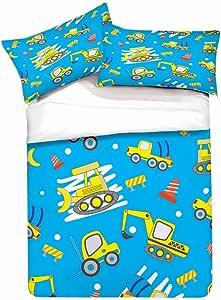 3 Piece Set Bedding Twin Full Bed Duvet Cover Cartoon Toy car Airplane Excavator Child Duvet Cover Bedding Set Duvet Cover and Pillowcase Duvet Cover + 2 Pillowcases C,Single-135x210cm