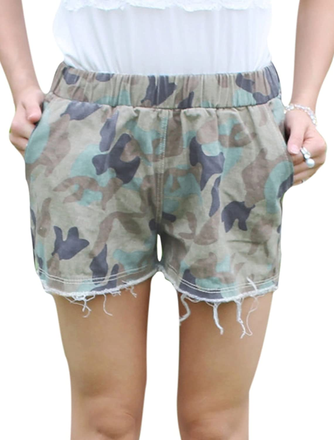 Women NEW Camouflage Pattern Destroyed Cuffs Casual Shorts