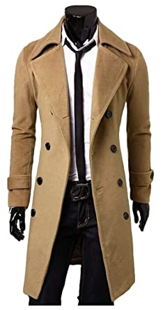 great deals on fashion outlet sale new items ilishop Men's Winter Slim Long Jacket Double Breasted Trench Coat