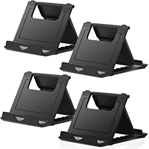 "Elimoons 4 Pack Cell Phone Stands, Universal Foldable Tablet Stand Multi-Angle Pocket Desktop Holder Cradle Compatible with iPhone 11 Pro Xs Max X 8 7 6s Plus, All Android Smartphones Tablets (6-10"")"