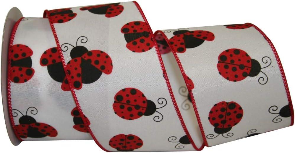 "10 Yards 2.5/"" Ladybug on Royal Ribbon Wired Ribbon"
