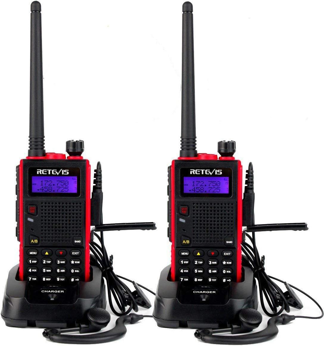 Retevis RT5 2way Radios Long Range, VHF/UHF Dual Band Radio, VOX FM Emergency Two Way Radio (Red, 2 Pack)