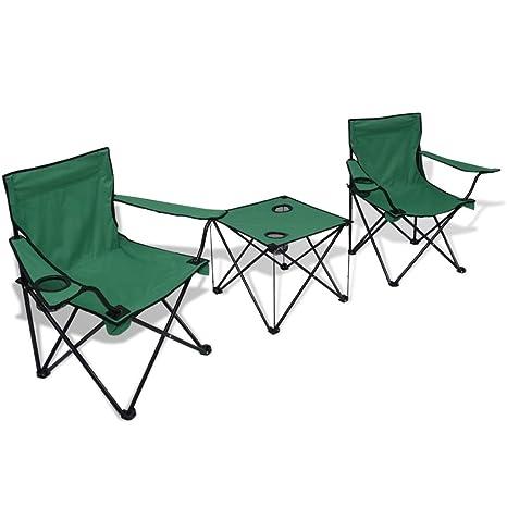 Mesa y 2 sillas de camping verde tamaño de la silla: 85 x 45 x 80 cm ...