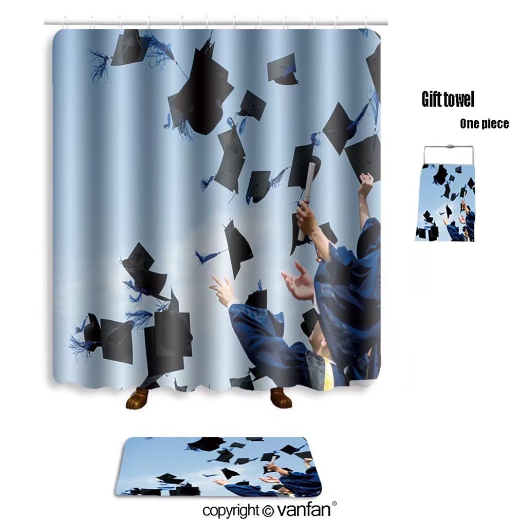 vanfan bath sets Polyester rugs shower curtain high school graduation hats high 83821315 shower curtains sets bathroom 69 x 90 inches&31.5 x 19.7 inches(Free 1 towel 12 hooks)