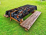 Ambesonne City Outdoor Tablecloth, Avenues Converging Towards Midtown in New York America Architecture Aerial, Decorative Washable Picnic Table Cloth, 58 X 84 inches, Marigold Grey Black