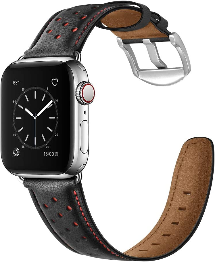CINORS Compatible with Apple Watch Band 44mm 42mm Vintage Mens Women Red Dots Black Leather Strap XL Dressy Bands with Silver Adapters Buckle for iWatch Series 6 5 4 3 2 1 SE, 44MM 42MM Leather Band