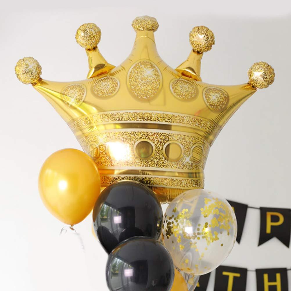 Toyvian Palloncini Alluminio Foil a Forma di Corona per Decorazione Festa di Compleanno Battesimo 3pcs
