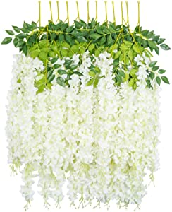 HEBE 12 Pack Artificial Wisteria Vine Ratta Silk Hanging Flower Garland Vine Wedding Decor Fake Long Wisteria Hanging Bush Flowers String Home Party Decor,White(40 FT)