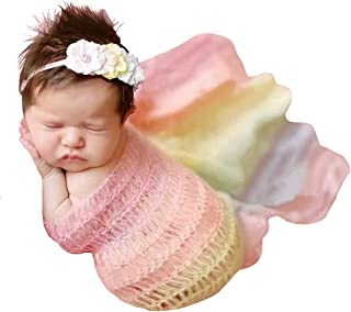 M&G House Newborn Photography Props Stretch Wrap,DIY Baby Photo Props Blanket Rainbow Wrap (Rainbow-Red)