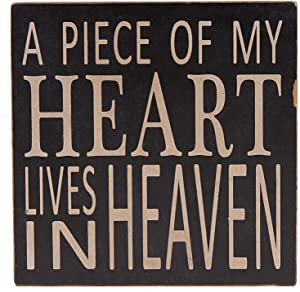 E-view Wood Box Sign with Quotes A Piece of My Heart Lives in Heaven, Memorial Sign Table Wall Decor 5.75 x 5.75 inches