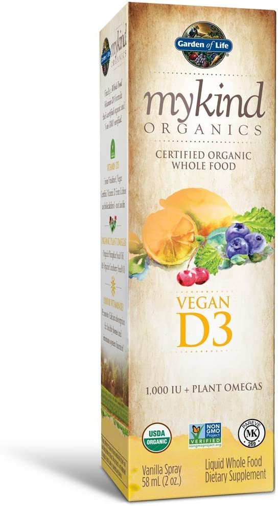 Garden of Life D3 Vitamin - mykind Organic Whole Food Vitamin D Supplement with Plant Omegas, Vegan, Vanilla, 2oz Liquid - Packaging May Vary: Health & Personal Care