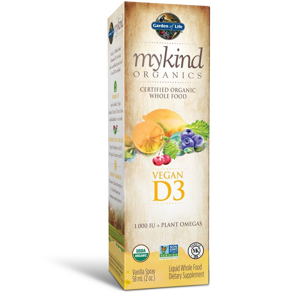 Garden of Life D3 Vitamin - mykind Organic Whole Food Vitamin D Supplement with Plant Omegas, Vegan, Vanilla, 2oz Liquid by Garden of Life