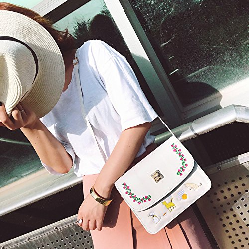 white hombro Pequeña nuevo de cuadrado diagonal bolso estilo bolsa bolsa negro HHxvnqZwU