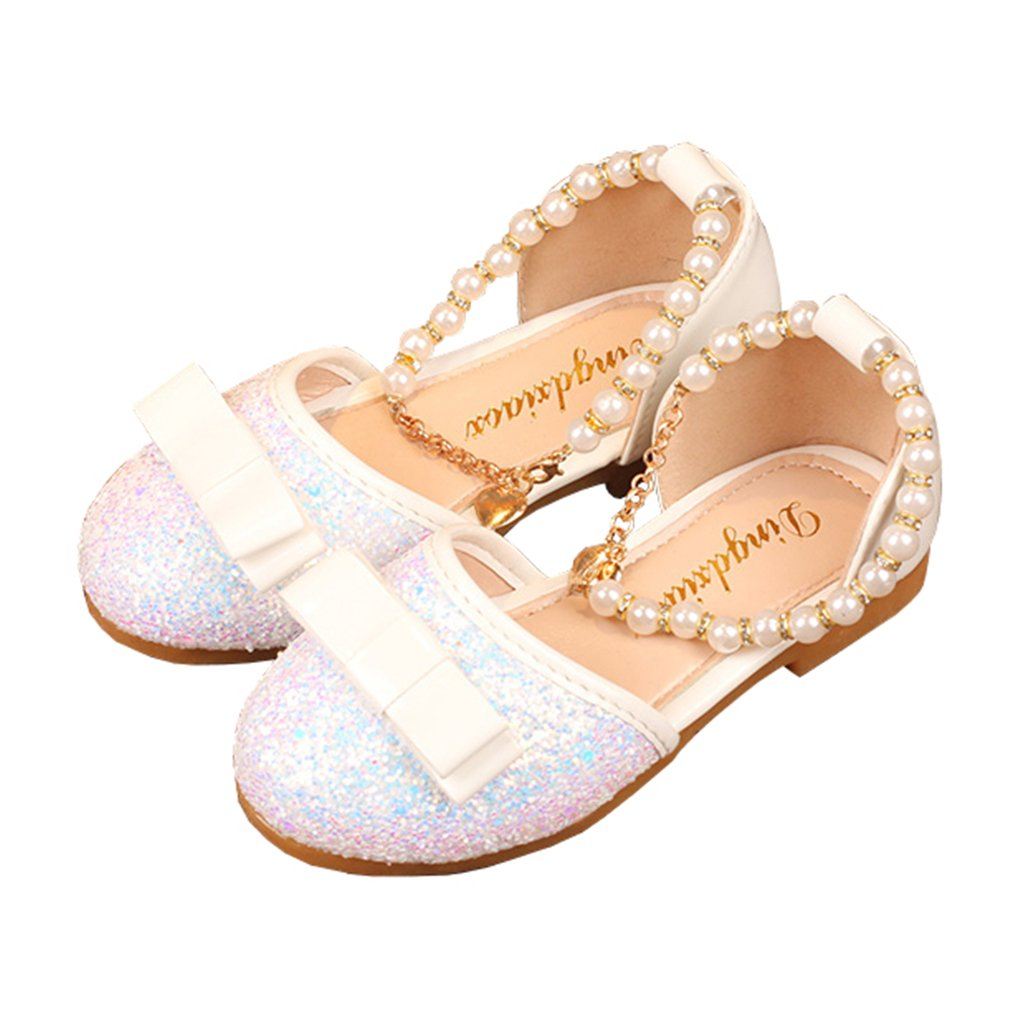 Toddler Girls Pearls Ankle Strap Bling Ballet Flats Bowknot Princess Dress Shoes White Size 22