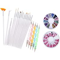 Yimart® Pack of 20,Nail Art and Gel Acrylic Drawing Painting Brush Set with Dotting Pen Tools (E) (Nail Art Brush C)