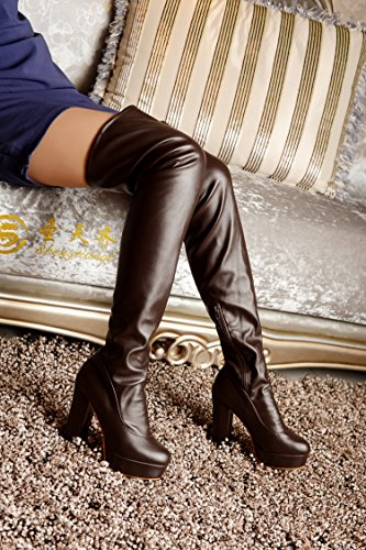 AIWEIYi High Brown Leather Thick Boots Patent High Over Womens Thigh Boots Knee The Heels Stretchy r6w7qxrnE4