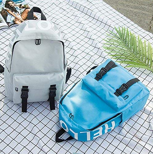 bluee SEBAS HOME Personality Backpacks Middle School Student Fashion Canvas Schoolbag Travel Backpack (color   bluee)