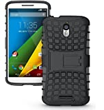 Chevron Tough Rugged Hybrid Dual Layer Protective Back Cover Case for Moto X Style (Black)