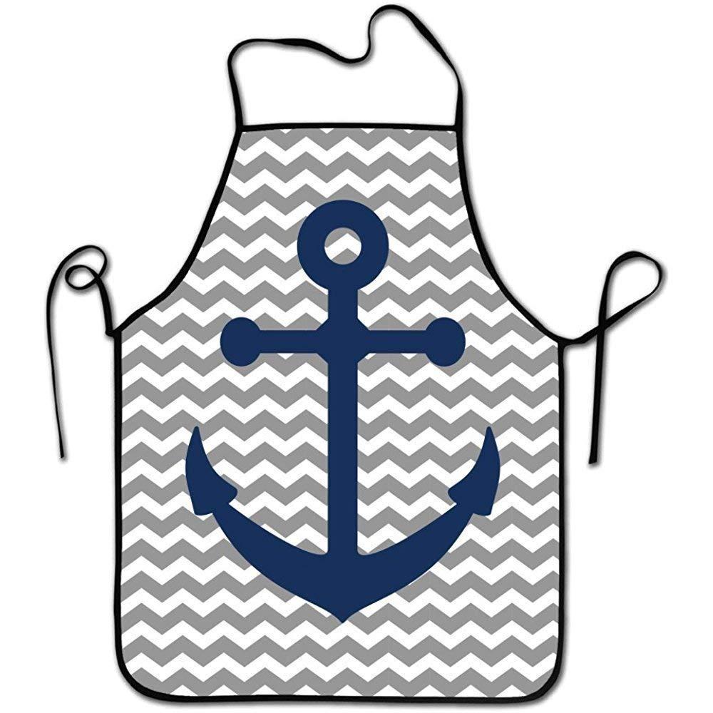 Siwbko ファッションシェフエプロン メンズ&レディース ビブエプロン 料理、ベーキング、クラフト、ガーデニング、BBQ-Nautical Anchors-1   B07GP8H6XW