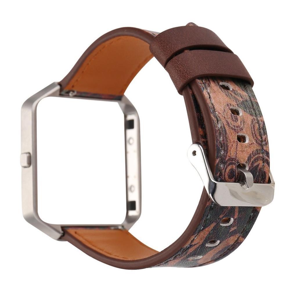 For Fitbit Blaze腕時計ストラップレザーストラップ交換バンドとフレームホルダーシェル A B0791HHH2N  A