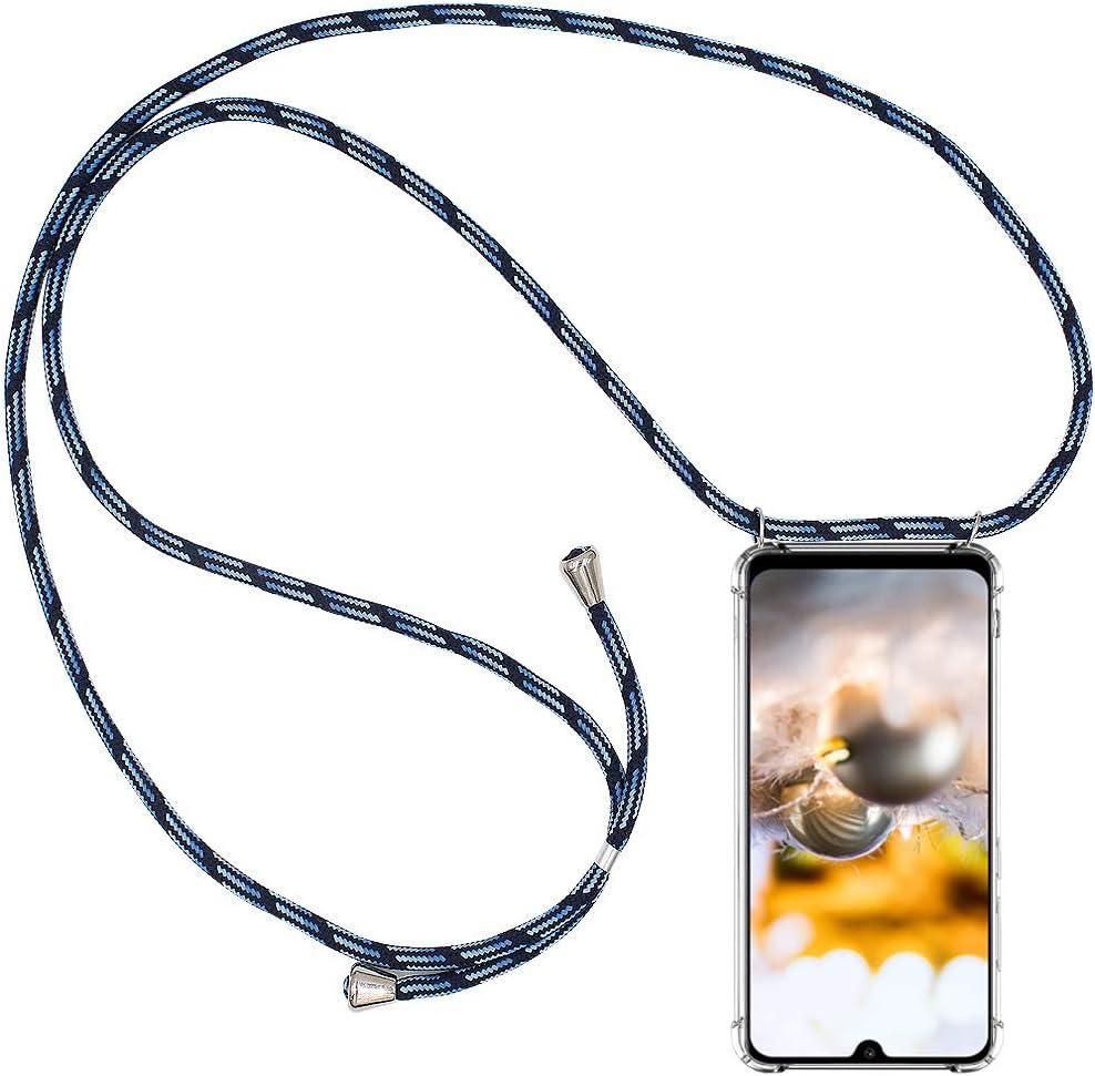 Bigcousin Funda con Cuerda Compatible con Xiaomi Mi A3//CC9e,Transparente de TPU con Ajustable Collar Cadena Cord/ón,Violeta