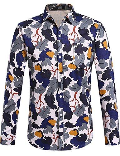 SSLR Men's Camouflage Regular Fit Cotton Casual Button Down Long Sleeve Shirt (Small, Beige Blue) (70s Men Clothes)