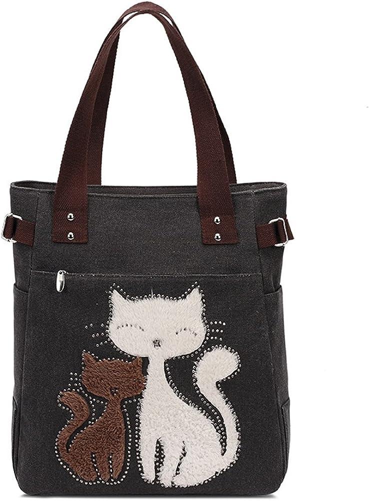 Myosotis510 Cute Couple Cats Canvas Shoulder Bag Handbag