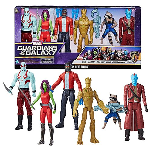 - GG Marvel Year 2016 Guardians of the Galaxy Titan Hero Series 6 Pack Figure Set - DRAX, GAMORA, STAR-LORD, GROOT, ROCKET RACCOON and YONDU with Weapon Accessories