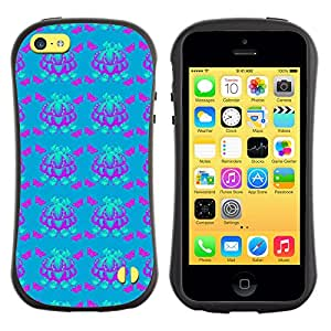 DesignCase Premium TPU / ABS Hybrid Back Case Cover Apple iPhone 5C ( violet butterfly )