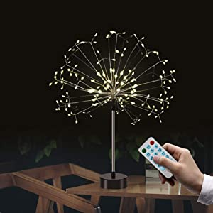 Firework String Lights,120 LED 4 Sounds 8 Mode Starburst Fairy Lights, Battery Operated(Not Include) DIY Twinkle String Lights for Christmas Bedroom Party Wedding Decoration (2pc, Warm White)