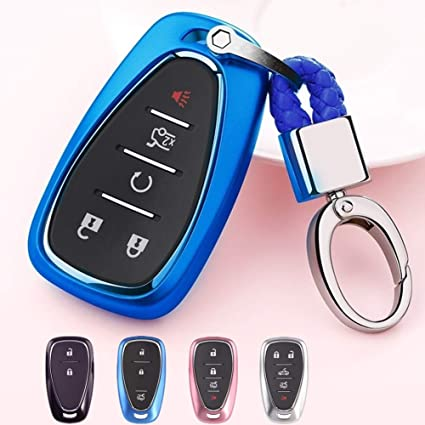 Mofei Compatible with Chevrolet Key Fob Cover Shell Case TPU Protector  Holder with Key Chain for Chevrolet Chevy 2018 2017 2016 Malibu Camaro  Cruze