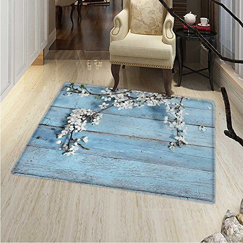 Rustic Rug Kid Carpet A Branch Blooming Spring Flowers on Wooden Fragility Symbol Spring Home Decor Foor Carpe 3'x4' White Light Blue
