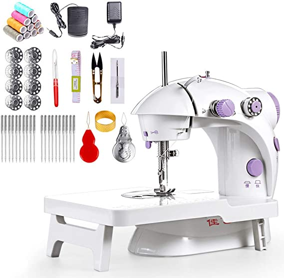 GETUPP Mini Sewing Machine with Upgrade Extension Table Adjustable Double Threads and Two Speeds Portable Crafting Mending Machine Sewing Kit for Household