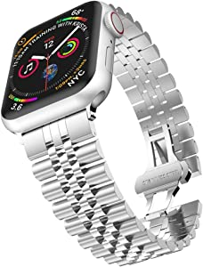 baozai Compatible with Apple Watch Band 44mm 42mm, iWatch SE& Series 6 5 4 3 2 1 Stainless Steel Strap with Butterfly Folding Clasp for Men (Silver)