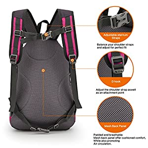 Cycling Hiking Backpack Sunhiker Water Resistant Travel Backpack Lightweight SMALL Daypack M0714 (Hot Pink)