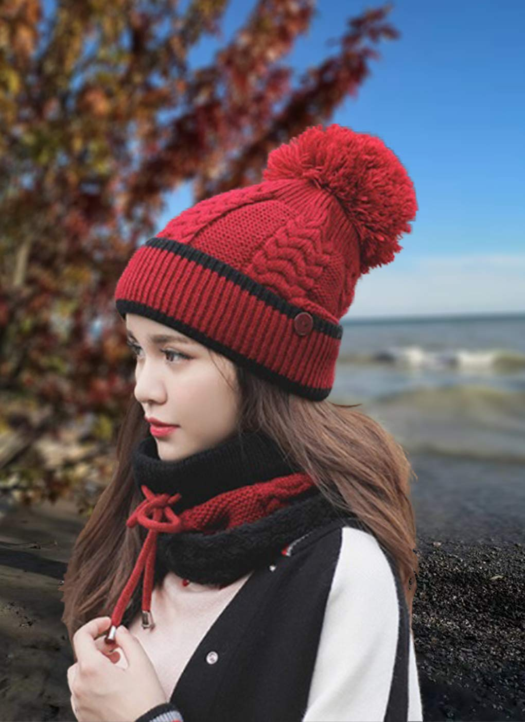 Scarf Garnet Keep you warm and fashion by Winlord Beanie Winter Hats for Women and Young Girls Mouth Mask Set