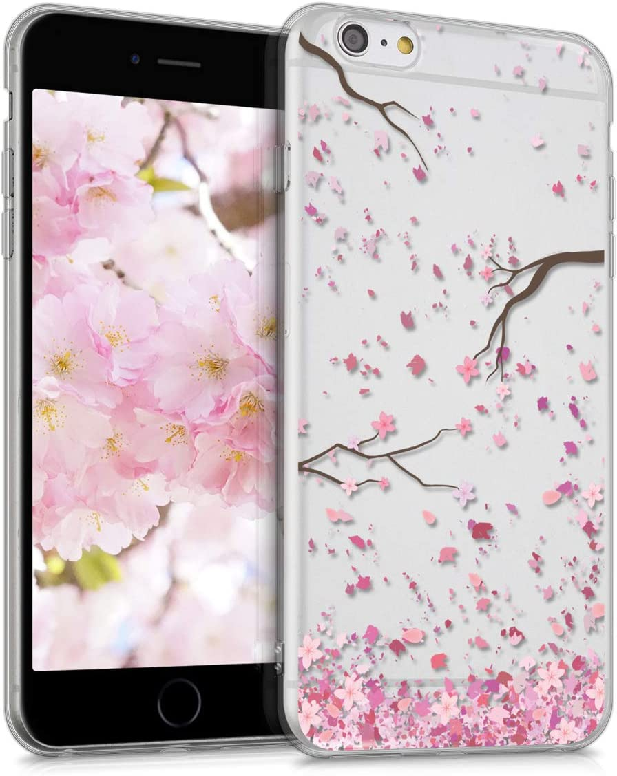 kwmobile Clear Case Compatible with Apple iPhone 6 Plus / 6S Plus - TPU Smartphone Backcover - Cherry Blossoms Light Pink/Dark Brown/Transparent
