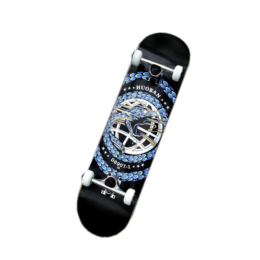 HXGL-スケートボード 初心者のための完全なスケートボードクルーズ船長ボードティーンメープルボードプロスケートボード31.5 X 8インチ 黒