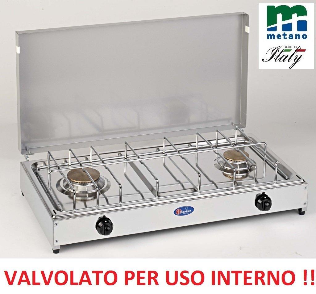 FORNELLO DA TAVOLO PARKER GAS METANO 2 FUOCHI CON VALVOLE SICUREZZA PER USO INTERNO - PIANALE IN ACCIAIO INOX TELAIO GRIGIO CASELLATO